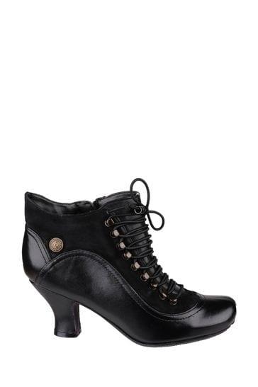 Hush Puppies Black Vivianna Lace-Up Heeled Boots