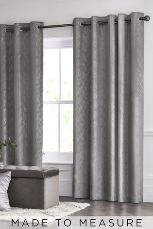 Velvet Metallic Geo Grey Made To Measure Curtains