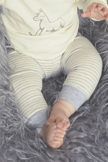 The Little Tailor Cream Yarn Dyed Stripe Jersey Slouch Pants