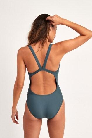 adidas Blue SH3.RO 3 Stripe Swimsuit