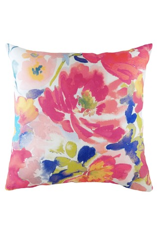 Aquarelle Abstract Floral Cushion by Evans Lichfield