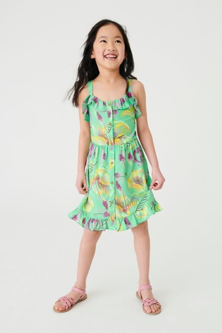 Lime Tropical Printed Frill Sundress (3-16yrs)