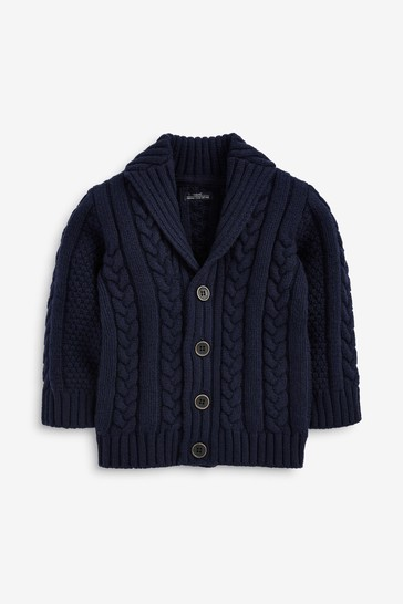 Navy Cable Button Through Cardigan (3mths-7yrs)
