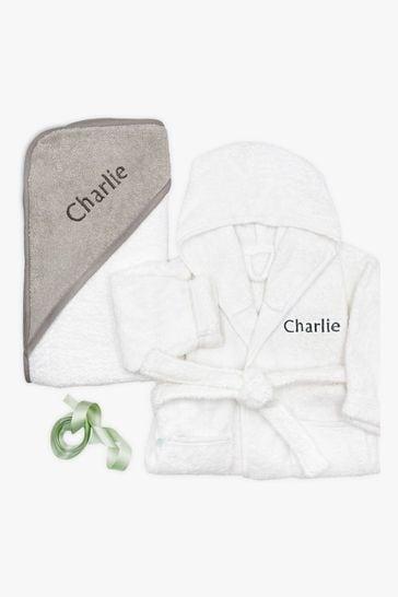 Babyblooms Personalised Grey Bathrobe with Luxury Hooded Towel
