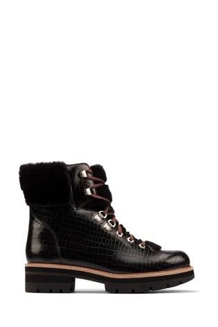 Clarks Black Croc Orianna Hiker Boots