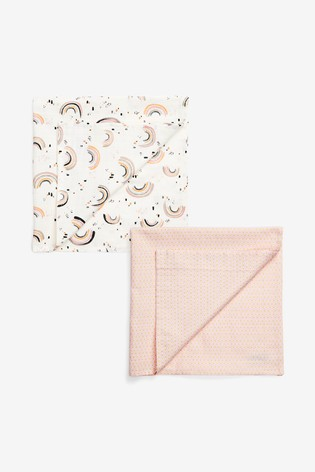 Monochrome 2 Pack Pink Geo And Rainbow Muslin Squares