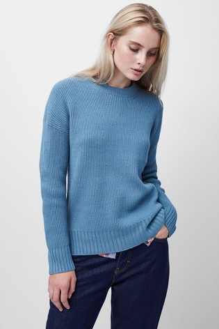 French Connection Blue Babysoft Ribbed Crew Neck Jumper