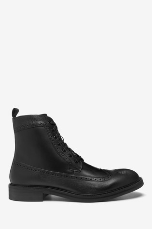River Island Black Leather Brogue Boots
