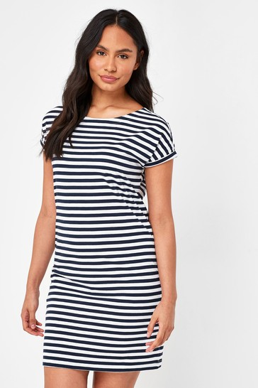 Navy/White Stripe Relaxed Capped Sleeve Tunic Dress