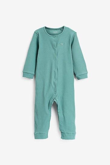 Blue 3 Pack Rib Sleepsuits (0-2yrs)