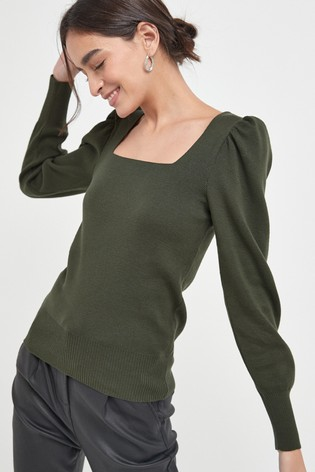 Khaki Square Neck Top