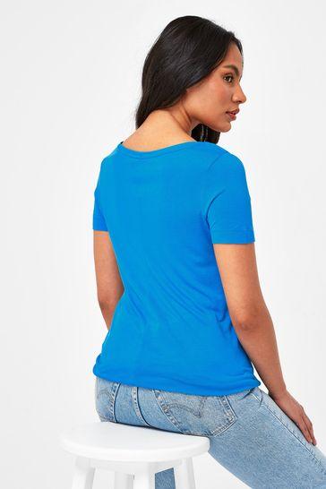 Cobalt Blue Slouch V-Neck T-Shirt