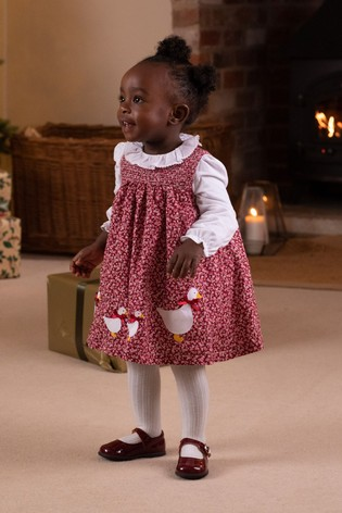 Trotters London Pink Jemima Smocked Floral Pinafore