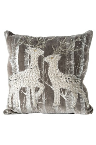 Woodland Reindeers Embroided Cushion by Gallery Direct