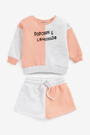 Pink/Grey Popcorn And Lemonade Jumper And Shorts Co-ord Set (3mths-7yrs)
