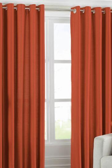 Riva Home Orange Fiji Faux Silk Eyelet Curtains
