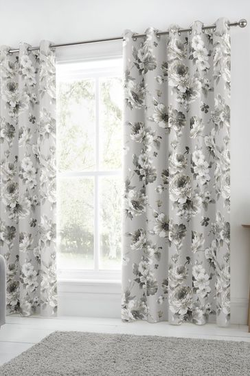 Fusion Charity Floral Lined Eyelet Curtains