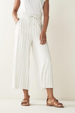 Cream Stripe Jersey Culottes