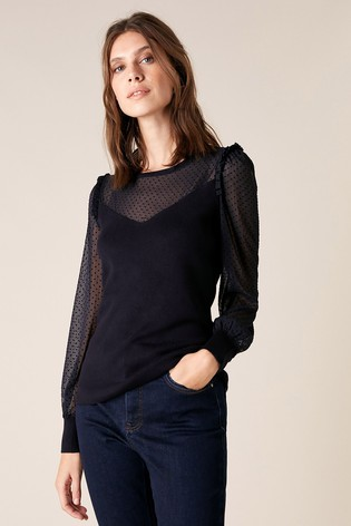 Monsoon Blue Woven Sleeve Jumper