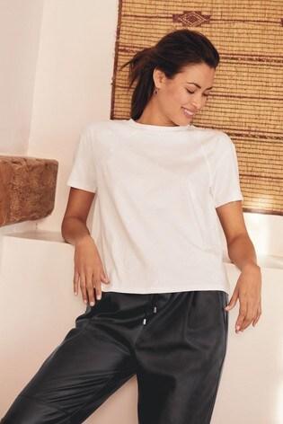 White Embroidered Star Raglan T-Shirt