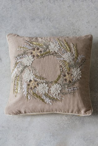 Wreath Hand Embroided Cushion by Gallery Direct