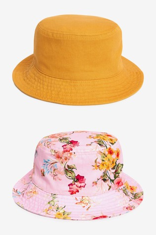 Pink/Yellow 2 Pack Bucket Hats (3mths-6yrs)
