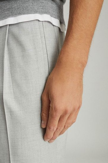 Reiss Grey Brighton Pleat Front Trousers