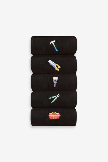 Black DIY Tools 5 Pack Embroidered Socks