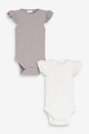 Grey/Ecru 2 Pack Short Frill Sleeve Bodysuits (0mths-2yrs)