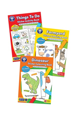 Orchard Toys Dinosaurs, Farmyard & Things To Do Sticker Colouring Book Set