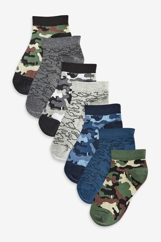 Blue/Khaki 7 Pack Cotton Rich Camo Trainer Socks