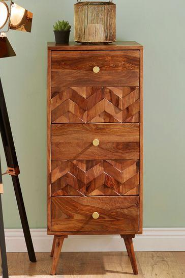 Pacific Lifestyle Sheesham Wood Honeycomb Design Tall Boy