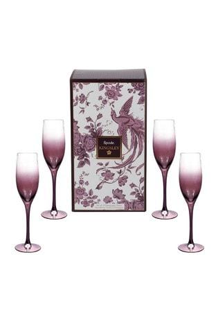 Set of 4 Spode Kingsley Champagne Flutes