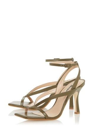 Dune London Monterey T Khaki Leather Square Toe High Heel Sandals