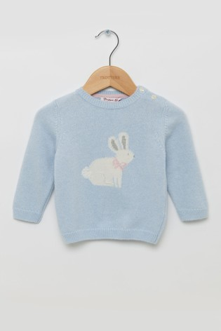 Trotters London Blue Bunny Jumper