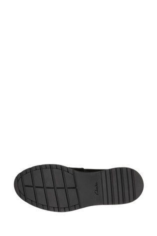 Buy Clarks Black Leather Loxham Shine Youths Shoes from ...