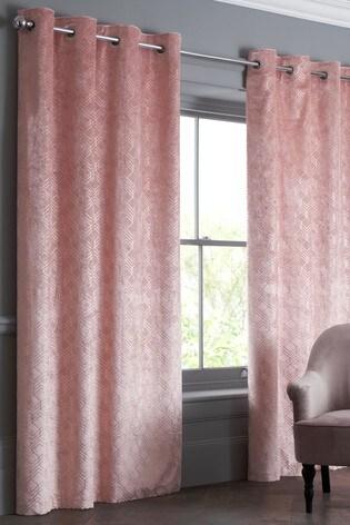 Velvet Metallic Geo Pink Made To Measure Curtains