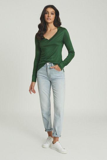 Reiss Green Selena Jersey V-Neck Top