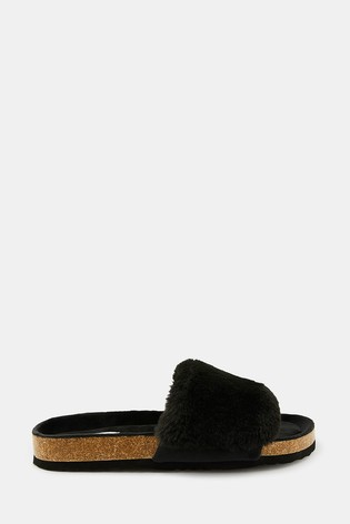 Accessorize Black Luxe Faux Fur Sliders With Cork Base