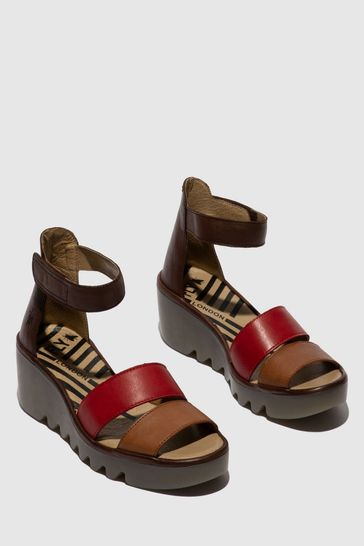 Fly London Ankle Strap Open Toe Wedge Sandals