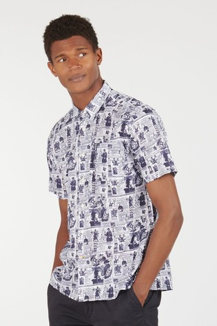 Barbour® White Print 10 Short Sleeved Summer Shirt