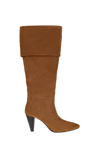 Monsoon Tan Suede Long Slouch Boots