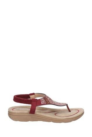 Fleet & Foster Red Mulberry Elastic Toe Post Sandals