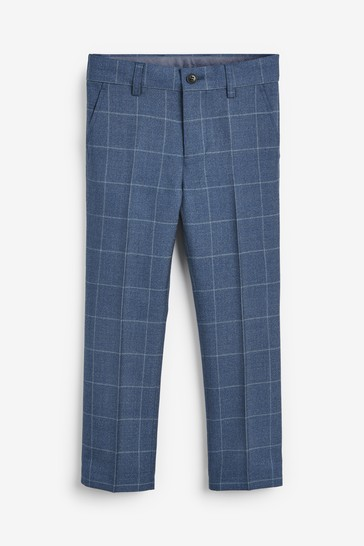 Blue Skinny Fit Windowpane Check Formal Trousers (3-16yrs)