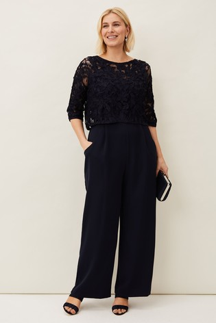 Phase Eight Blue Elodie Tapework Jumpsuit
