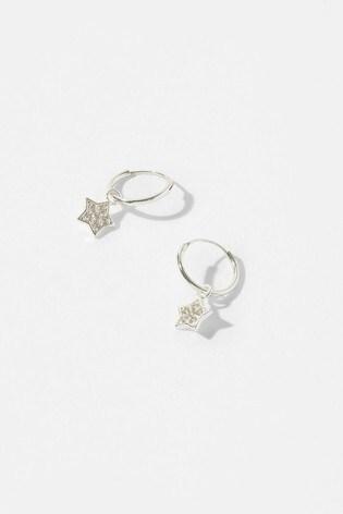 Accessorize Sterling Silver Star Charm Hoop Earrings