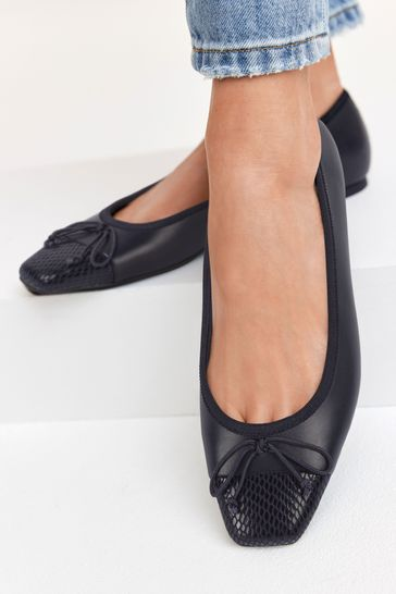 Navy Leather Square Toe Ballerina Shoes