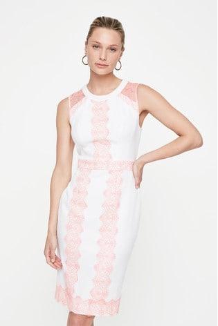 Damsel In A Dress Cream Akaria Lace Panel Dress
