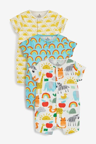 Yellow 3 Pack GOTS Organic Sunshine Rainbow Rompers (0mths-3yrs)