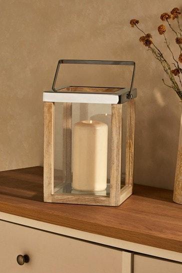 Country Luxe Mango Wood Lantern